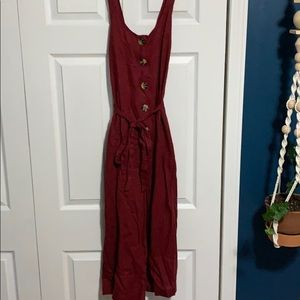Maroon button front jump suit